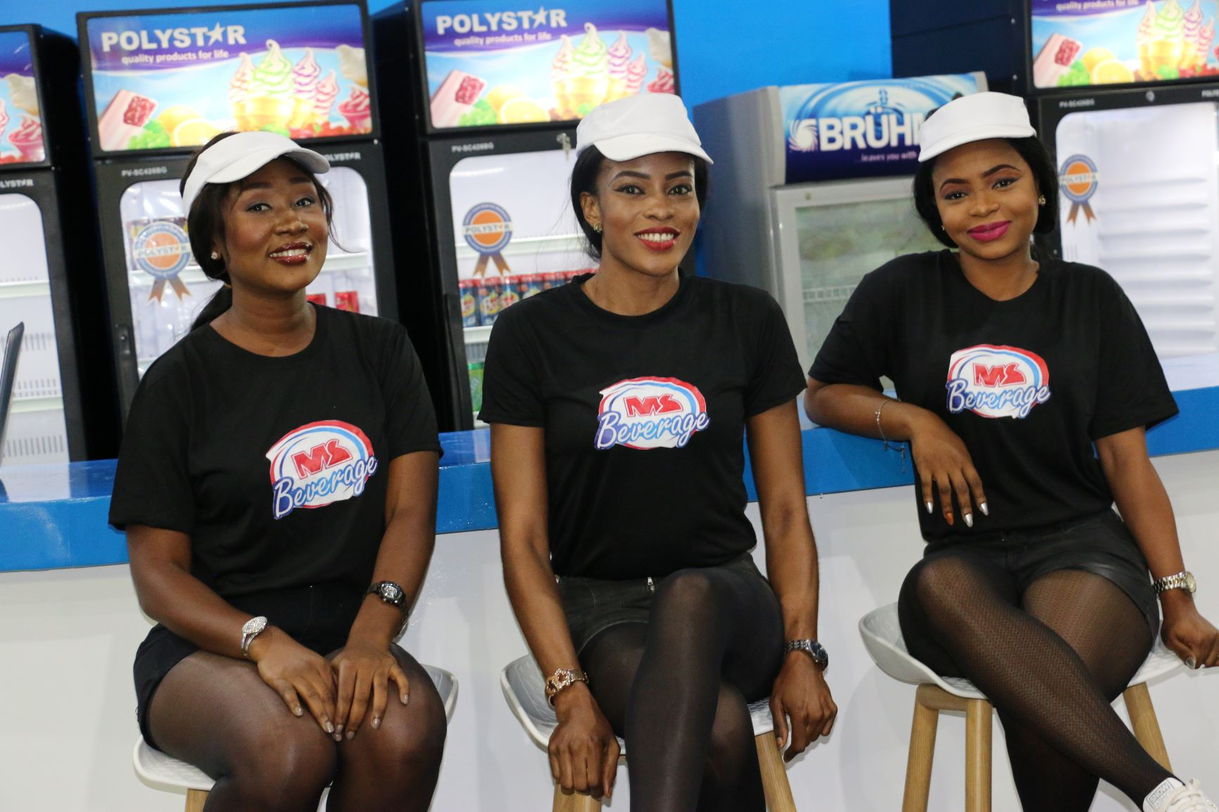 photos of exhibition hostesses at food and beverage west africa
